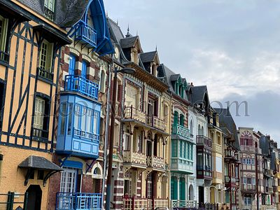 Beautiful wooden facade of old traditional house in Le Treport, France, Normandy