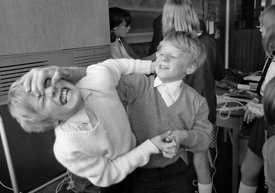 #83800,  Fighting, Whitworth Comprehensive School, Whitworth, Lancashire.  1970.  Shot for the book, 'Family and School, Peng...