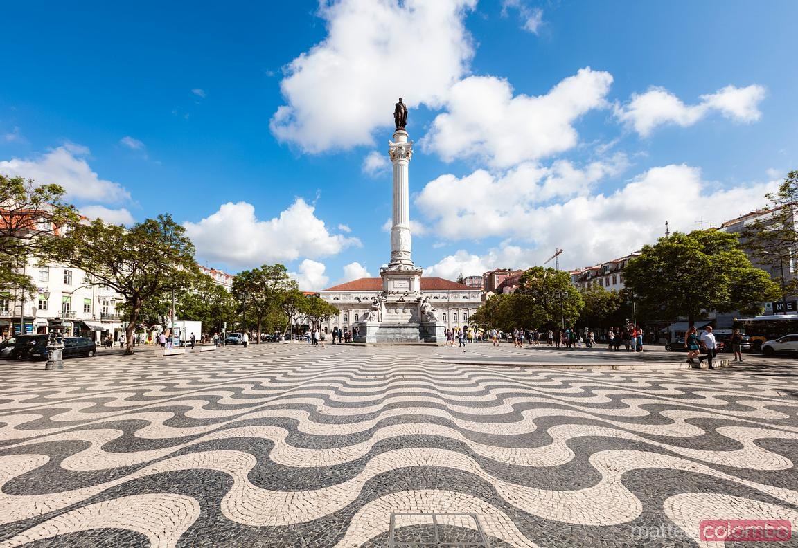 Rossio square at daytime, Lisbon, Portugal