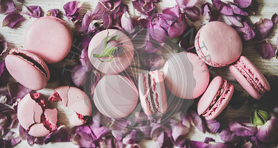 Sweet pink macaron cookies and rose buds and petals, close-up
