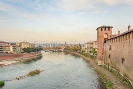 View of the river Adige from inside of Museo di Castelvecchio in Verona.