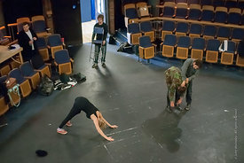#72173,  Actors warming up.  Dress Rehearsal for Shakespeare's, 'Macbeth', Rose Bruford College, Sidcup, Kent.