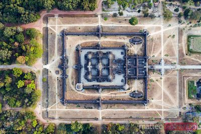 Overhead view of Angkor Wat temple at sunset, Cambodia