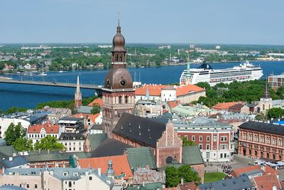 Riga, view of old town from St Peter's Church, Latvia