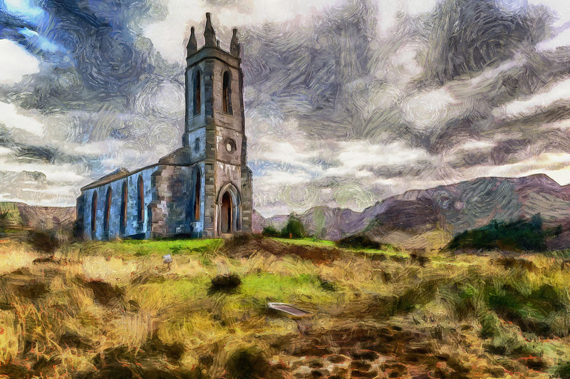 Dunlewey Church Cloudy Painting