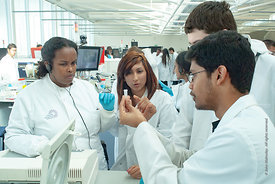 #027924  The Super Lab in the Science Centre, London Metropolitan University, where 280 students can each work independently