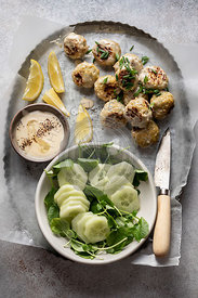 Swedish meatballs with cucumber watercress salad and creamy sauce