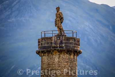 Monument of Bonnie Prince Charlie on the shore of Loch Shiel