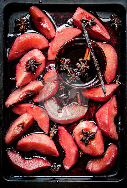 Red wine poached quinces