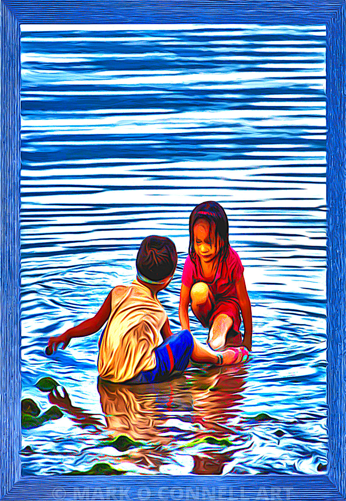 art,painting,children,playing,water,sea,ocean,abstract,girl,boy