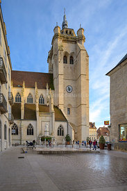 DOLE, FRANCE - OCTOBER 26, 2019: Collegiate Church Notre-Dame in French city of Dole.