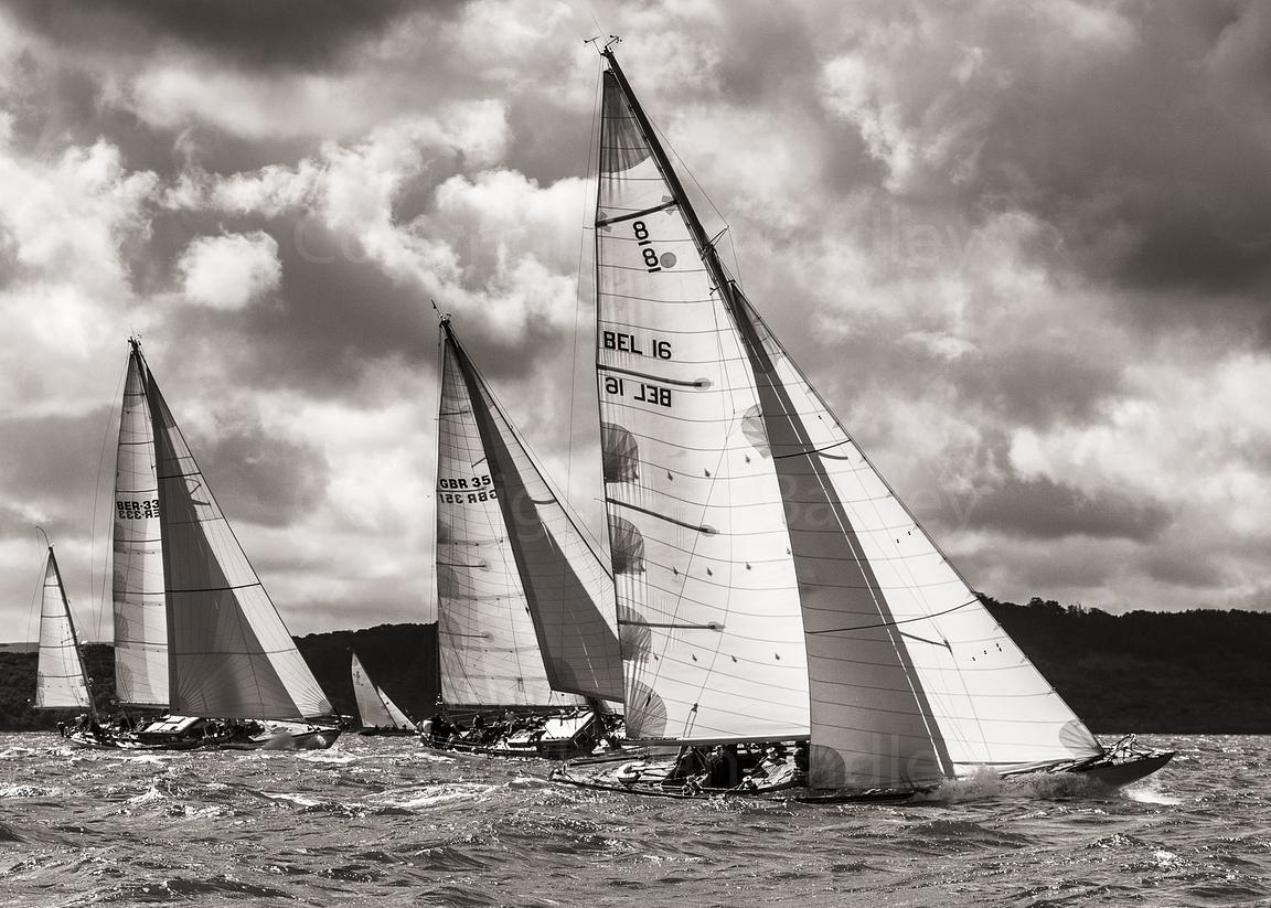 Classic yachts head west upwind (light sepia)