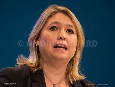 England, UK . 2.10.2017. Manchester . Conservative Party Conference, Monday. Karen Bradley.