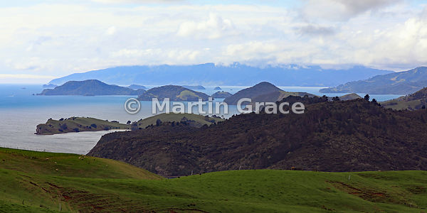 2:1 image of Coromandel Harbour from the south, Coromandel Peninsula, North Island, New Zealand