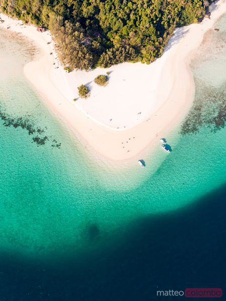 Aerial view of sandy tropical beach, bamboo island, Thailand