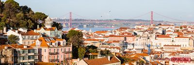 Cityscape panorama with suspension bridge, Lisbon, Portugal