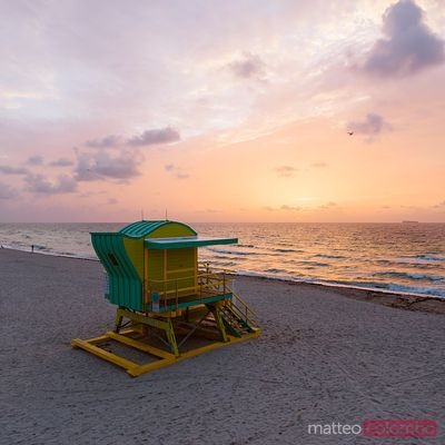 Elevated view of lifeguard cabin at sunrise, South beach, Miami