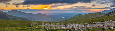 Sunset over scenic mountain valley in Snowdonia,UK.