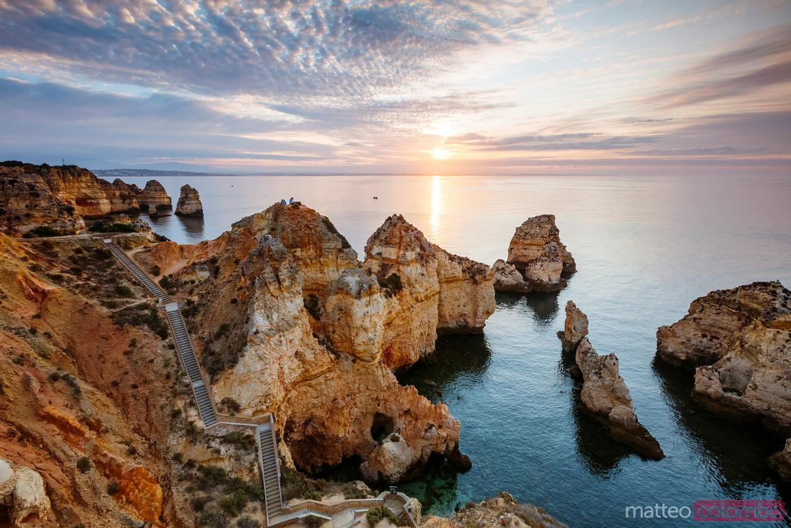 Sunrise over the coastline of Algarve, Portugal