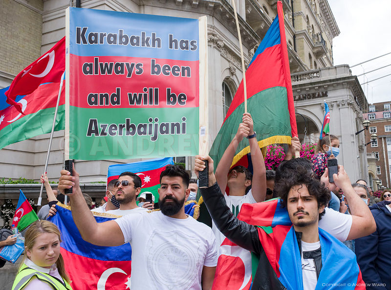 England, UK. 28.7.2020. London. Protest against Armenian military action on the border with Azerbaijan, and Armenian counter ...