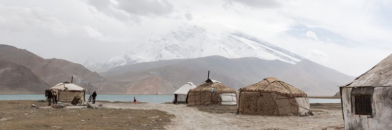 Panoramic of yurts near Karakul lake