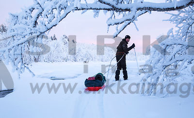 Winter hiking in Lapland