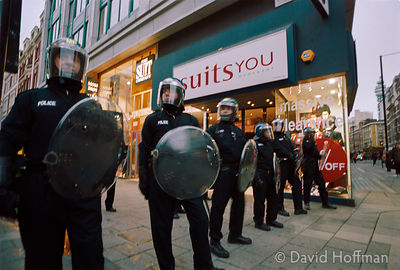 01050103-22 Police at the Mayday protests, central London, 2001.