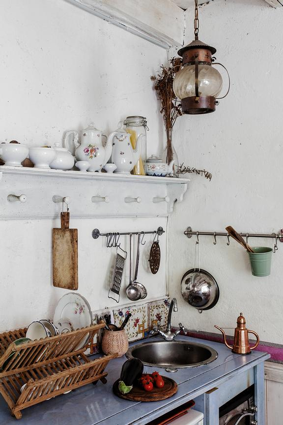 The kitchen utensils are a mix of things collected and purchased from shops and flea markets.
