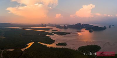 Aerial panoramic view of Phang Nga bay at sunset, Thailand