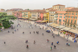 VERONA, ITALY - OCTOBER 26, 2017: tourists in the Piazza Bra, Verona, Italy.