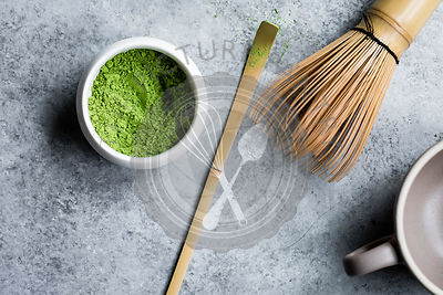 Matcha tea powder in a ceramic bowl