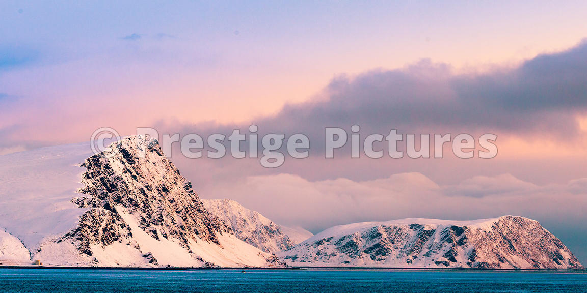 Beautiful Snowy Hills and Cliffs close to Honningsvåg, Norway
