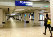 Empty station halls in Central station due to corona crisis Amsterdam, Netherlands.