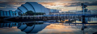 Clyde waterfront and the SEC Armadillo at sunrise