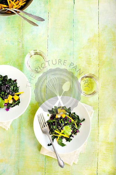 Black Bean Kale Salad with Roasted Poblano Vinaigrette