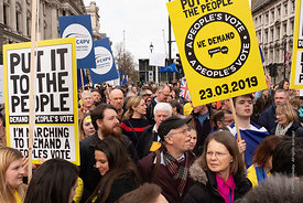 #124572,  Anti-Brexit march to Parliament Square, London, 23rd March 2019.  A million people of all ages marched demanding a ...