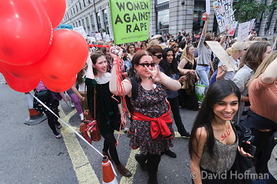 Slutwalk London. Around 5,000 women and men marched in a protest against rape and sexual violence in a movement that has seen...
