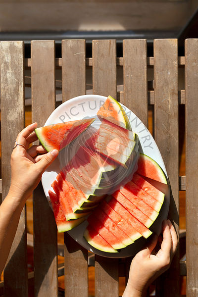 Sliced watermelon on a plate.