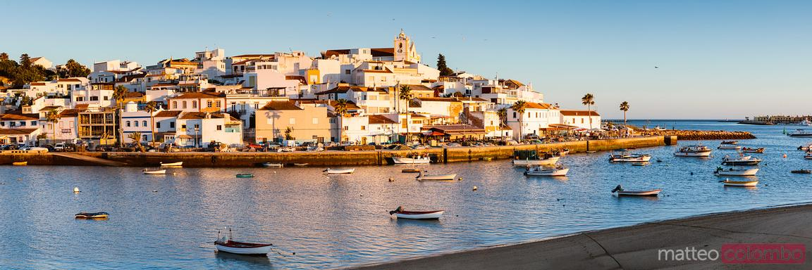 Panoramic of Ferragudo at sunset, Algarve, Portugal