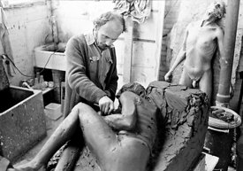 #74885,  John Blakeley, sculptor, lived and worked at Digswell House, an artists' community run by the Digswell Arts Trust, W...