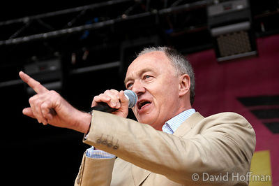 Ken Livingstone speaking at the Love Music Hate Racism carnival in Victoria Park, London 27 April 2008