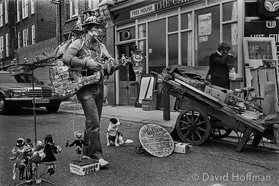 One Man Band, in or near Cheshire Street, Shoreditch 1984.