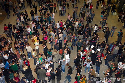 A mobile clubbing flash mob at the Tate Modern, London.