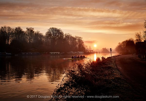Giclée fine art photographic print of sunrise on the River Thames with orange skies in Surrey