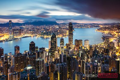 Hong Kong harbour and skyline at dawn