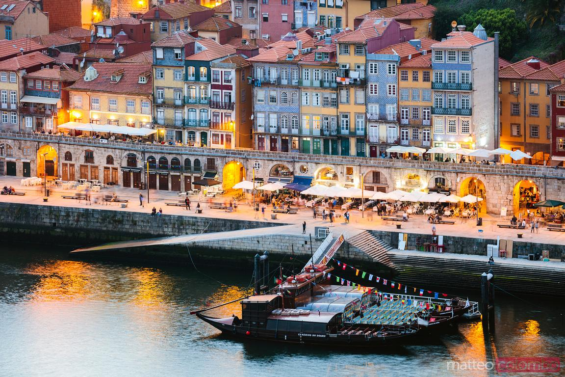 View over Ribeira district at night, Porto, Portugal