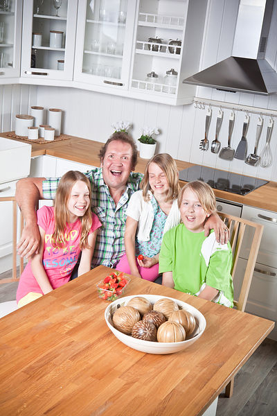 Family in new kitchen