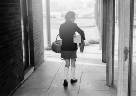 #83615,  Arriving at school in the morning, Whitworth Comprehensive School, Whitworth, Lancashire.  1970.  Shot for the book,...