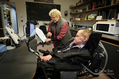 Professor Stephen William Hawking, CH, CBE, FRS, FRSA, at the Department of Applied Mathematics and Theoretical Physics, Univ...