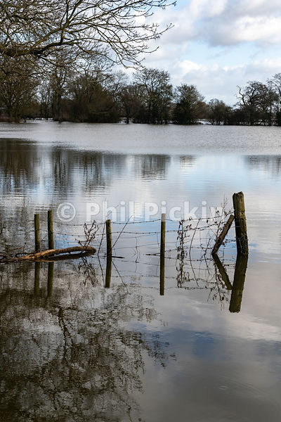 Flooded fields in the village of Melveley in Shropshire.
